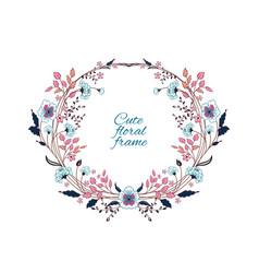floral frame cute retro flowers arranged un vector image