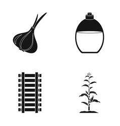 Garlic vessel and other web icon in black style vector