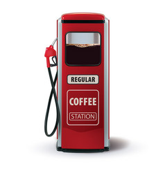 Gas pump with coffee dispenser metaphor coffee is vector