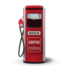 Gas pump with coffee dispenser metaphor coffee vector