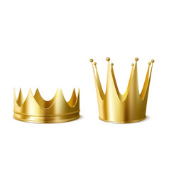 golden crowns for king or queen crowning headdress vector image