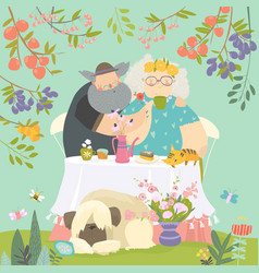 grandmother and grandfather have lunch in blossom vector image