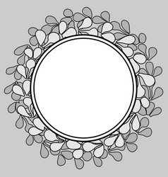 Grey and white laurel floral wreath frame on black vector