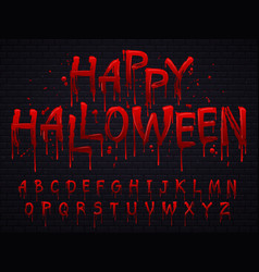 Halloween font horror alphabet letters written vector