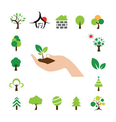 hand and tree symbol set vector image