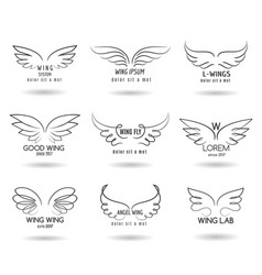 hand drawn wings logo set doodle winged vector image