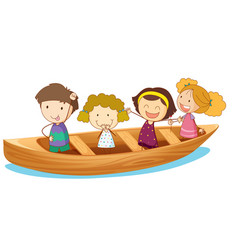 Happy kids rowing boat vector