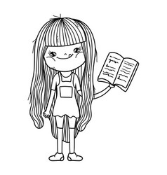 happy little girl reading book vector image