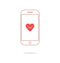 Heart letter icon in red outline smartphone vector