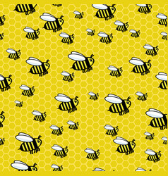 honey bees and bee honeycombs vector image