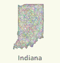 Indiana line art map vector image