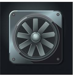 Industrial fan air ventilation realistic metal vector