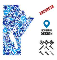 Industrial manitoba province map mosaic vector