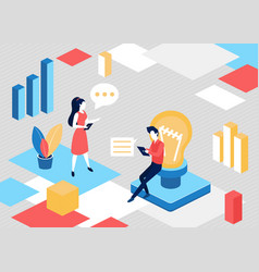 isometric people search for business idea vector image