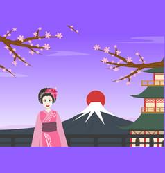 japanese girl in traditional kimono dress standing vector image