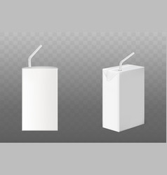 Juice or milk boxes with straw side front view set vector