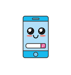 kawaii cute happy smartphone technology vector image