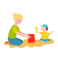 Kid playing sandbox vector
