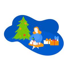 Kid unpack present gets gift christmas tree vector