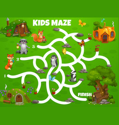 kids labyrinth maze game fairy houses or dwellings vector image