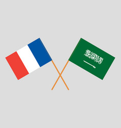 Kingdom of saudi arabia and france flags vector