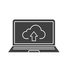 laptop cloud storage icon vector image