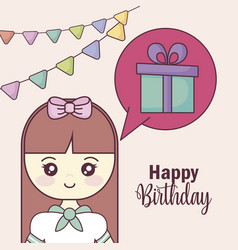 little girl and speech bubble and gift vector image