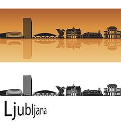 Ljubljana skyline in orange background vector