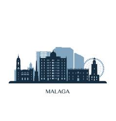 malaga skyline monochrome silhouette vector image