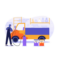 male character is working in car painting service vector image