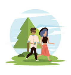 man and woman couple walking vector image