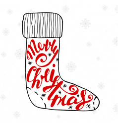merry christmas in white sock on vintage vector image
