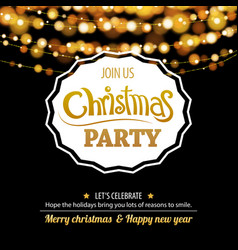 merry christmas party bokeh light for flyer vector image
