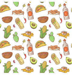 Mexican food hand drawn seamless pattern vector