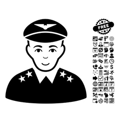 Military Pilot Officer Flat Icon With Bonus vector