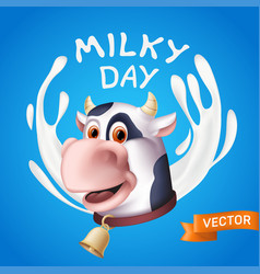 milky day inscription consisting white yogurt vector image