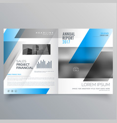 Modern business bifold brochure template with vector