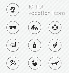 Modern flat icons collection of vacation theme vector image