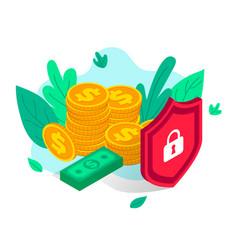 Money protection isometric concept flat vector