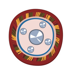mongolian shield ancient central asian weapon vector image