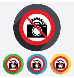 No Photo camera sign icon Photo flash symbol vector
