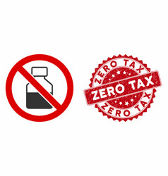 No vial icon with grunge zero tax stamp vector