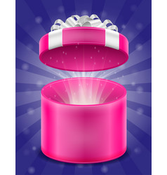 open magic gift box with bow and ribbon stock vector image