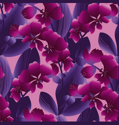 Orchid blossom colorful seamless pattern vector