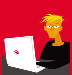 perplexed freelancer at computer vector image