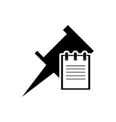 Pin and notepad icon vector
