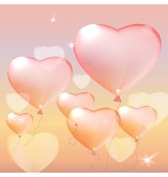 Pink heart balloons vector