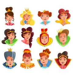 princess and queen heads set vector image