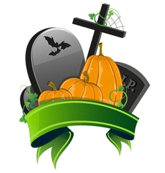 Pumpkins and graves vector