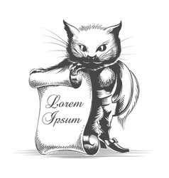 puss in boots with empty scroll vector image